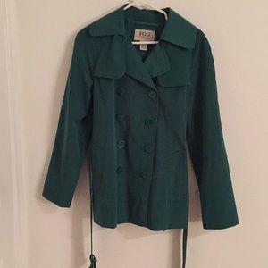 London Fog green raincoat.